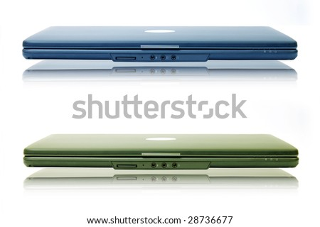 Two stylish laptop. Isolated on white. - stock photo