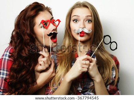 two stylish sexy hipster girls best friends ready for party - stock photo