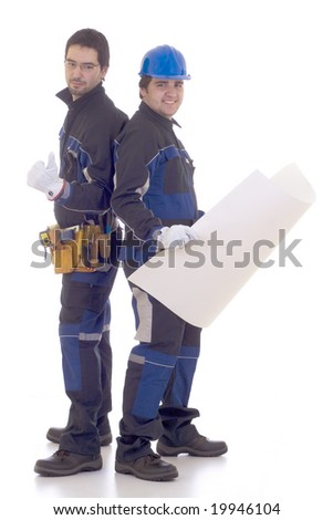 Two successful construction worker - stock photo
