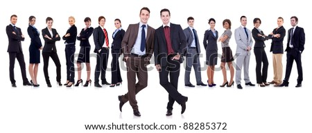 two successful leaders and their team on white background - stock photo