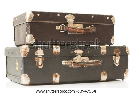 two suitcase isolated - stock photo