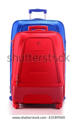 Two suitcases isolated on white - stock photo