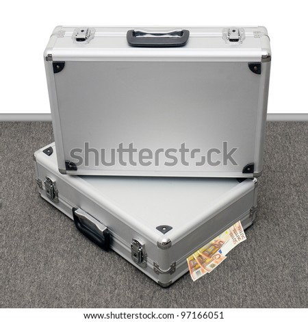 Two suitcases with Euro bank notes - stock photo