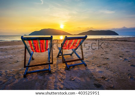 Two Beach Chairs Over Sunset Stock Photo 168738173 Shutterstock