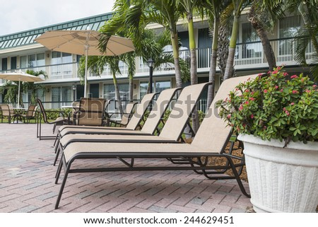 Two sun loungers by the pool. Florida, USA