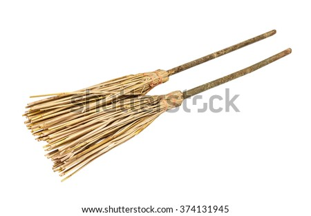 Two sweepers, isolated on the white - stock photo