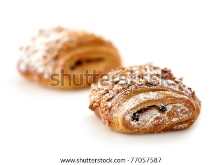 two sweet buns on white background - stock photo