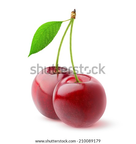Two sweet cherries with leaf over white background - stock photo