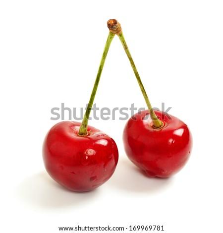 Two sweet cherry, isolated on white background, macro image - stock photo