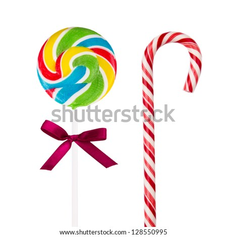 Two sweet lollipops isolated on white background - stock photo