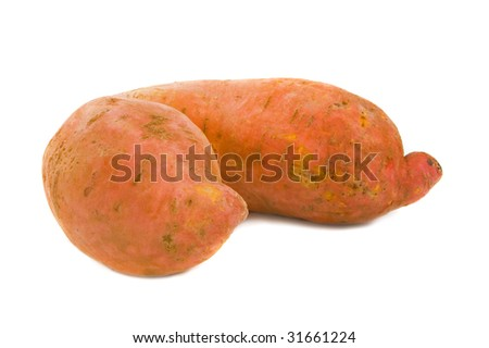 Two sweet potatoes isolated over white background