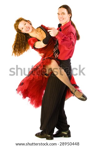 Two swing dancers isolated on white - stock photo