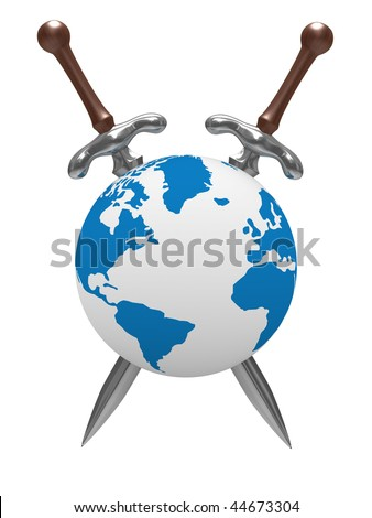 two sword and globe on white background. Isolated 3D image - stock photo