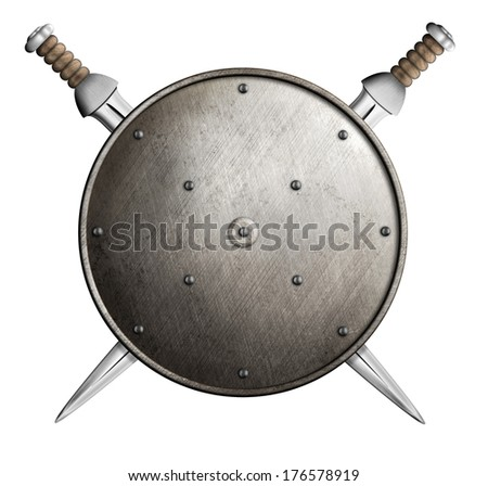 Two swords and metal round shield isolated - stock photo