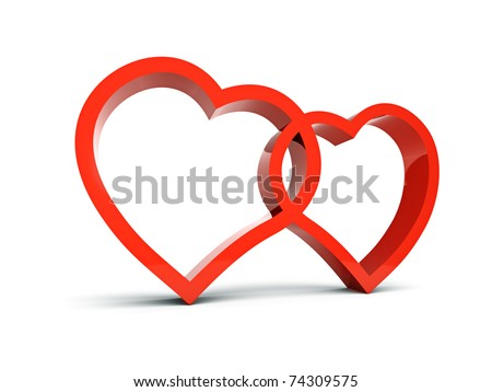 Two symbols of loving hearts - stock photo