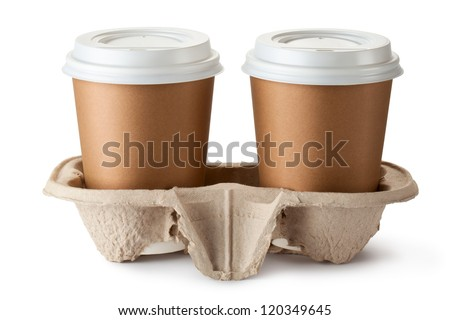 Two take-out coffee in holder. Isolated on a white. - stock photo