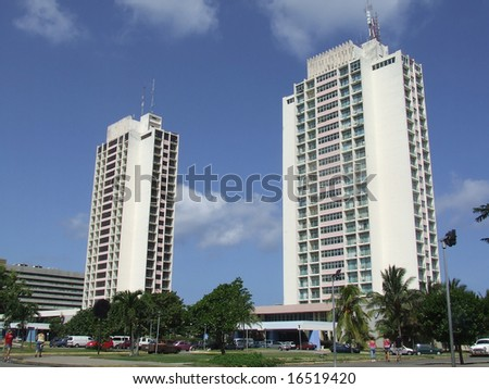 Two tall hotels, in Miramar, Havana city