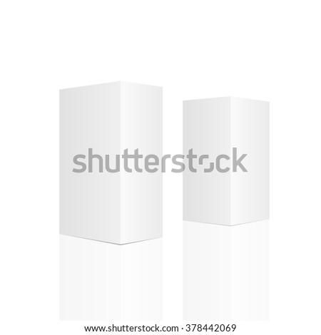 Two tall white boxes. Mockup ready for your design. Vector illustration, eps 10 - stock photo