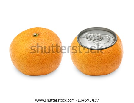 two tangerine on white background, with a cover of gin and normal.