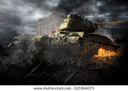 Two tanks destroyed in the area - stock photo