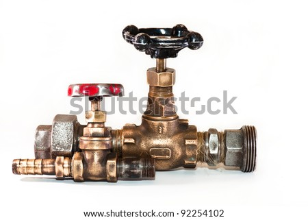 two taps for water on a white background - stock photo
