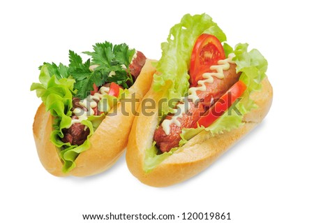 Two tasty and delicious hotdog. Isolated on white. - stock photo