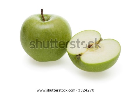 Two tasty green apples isolated on white background. - stock photo