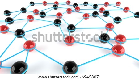 Two teams integrated into a network - stock photo