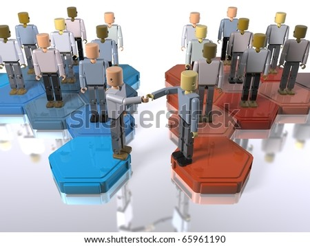 Two teams or companies merging - stock photo