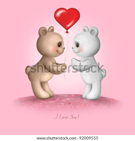 Two Teddy bears on a pink background - stock photo