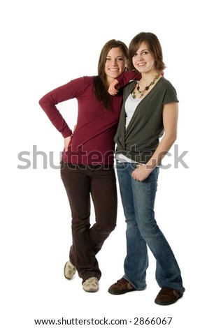 two teen girls standing isolated on white - stock photo
