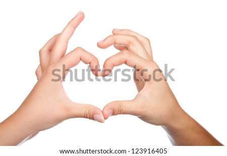 Two teenager hands form a heart shape with their fingers. on white background.