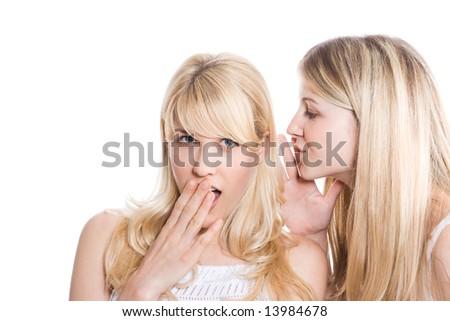 two teens making a confidence talk, studio white - stock photo