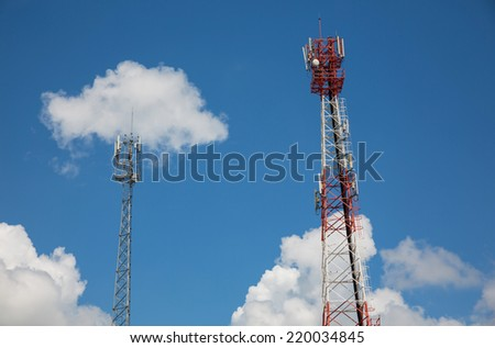 Two Telecommunication tower and sky blue . - stock photo