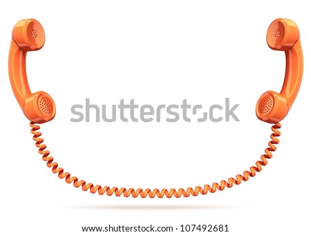 two telephone handsets connected - conversation connection contact 3d concept - stock photo
