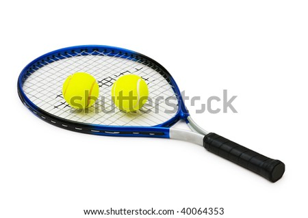 Two tennis balls and racquet isolated on white - stock photo