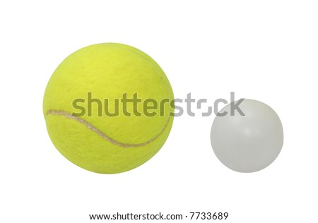 Two tennis balls. Big Tennis and Table tennis - Ping-pong balls isolated with clipping path