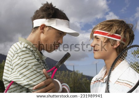 Two Tennis Players Having Stare Down - stock photo