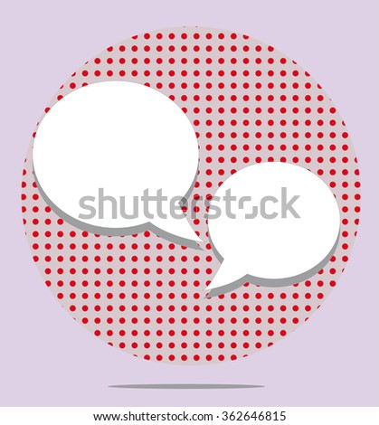 Two text balloons in red spotted round on pink background - stock photo
