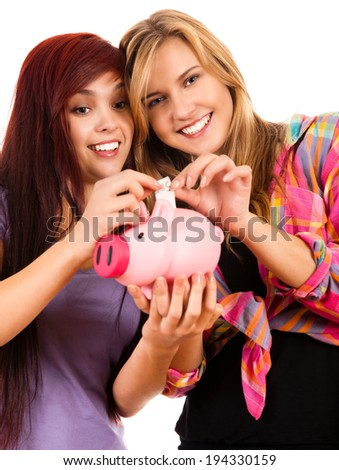 two the best girl friends with piggy bank, white background