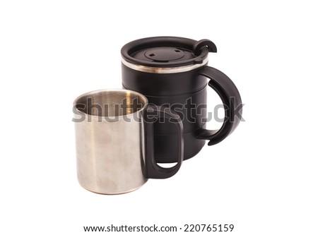 Two Thermos Travel Mugs on white background  - stock photo