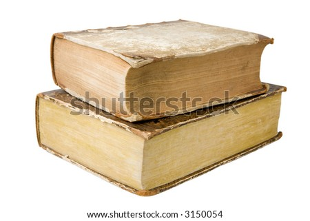 Two thick antique books isolated on a white background - stock photo