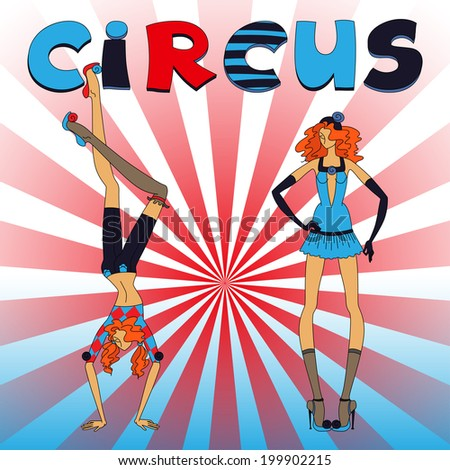 Two thin circus girls, standing and handstand, red and blue clothing, with title - stock photo