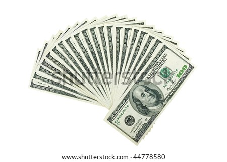 Two thousand dollars isolated on the white background - stock photo