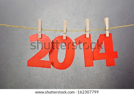 Two thousand fourteen New Year number decoration - stock photo