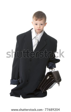 Two, three years old baby boy businessman in big suit holding case  isolated on a white background - stock photo