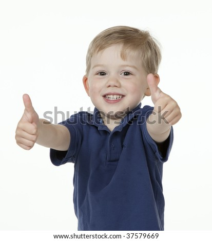 Two Thumbs Up from Young Boy