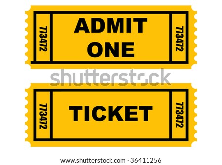 Two tickets isolated on white background.