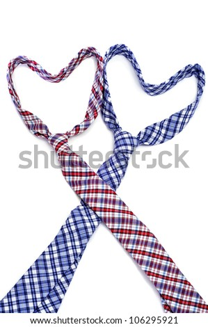 two ties forming hearts symbolizing gay love or gay marriage - stock photo