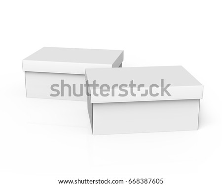 two tilt 3d rendering blank white paper closed boxes for design use, isolated white background, elevated view